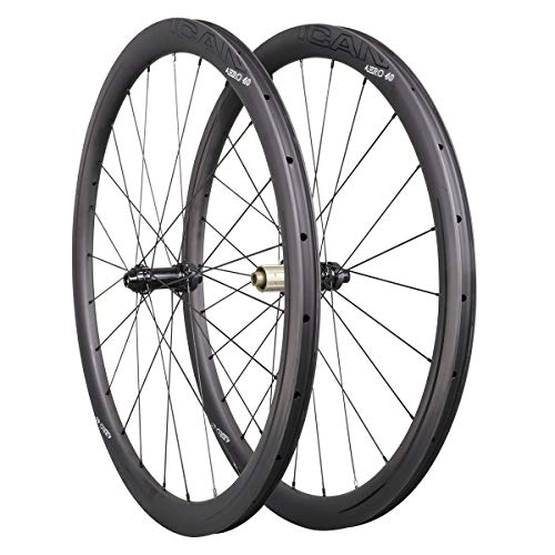 ICAN Carbon Wheels AERO 40 Road Bike Wheelset 40mm Clincher Tubeless Ready Disc Brake 12x100/12x142mm Only 1355g