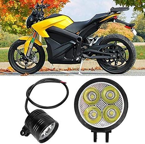 QOHFLD Universal Motorrad Scheinwerfer Super Bright Motorrad 4 LED Front Fahrnebelscheinwerfer Scheinwerferlampe Zusatz