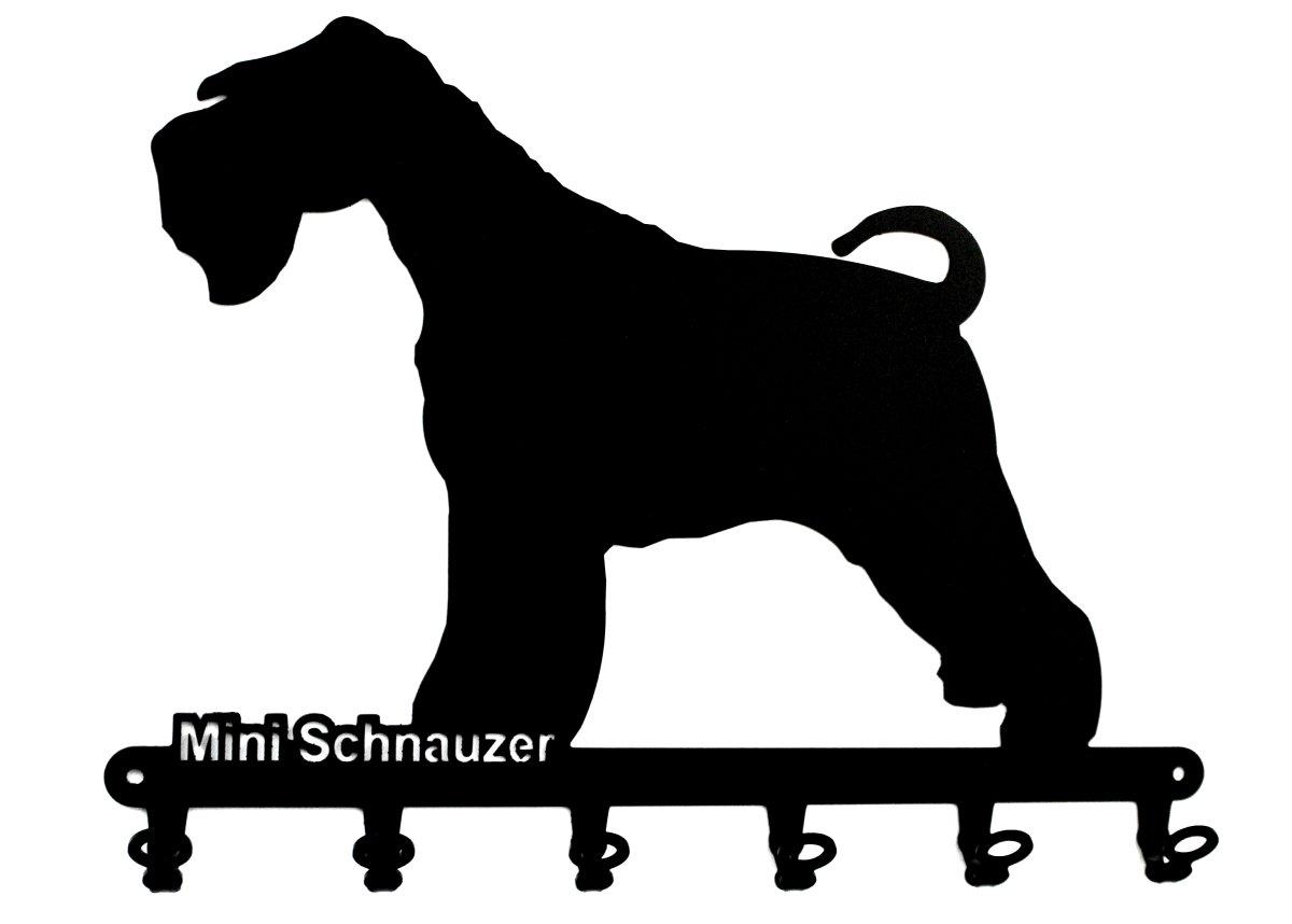 cane portachiavi pannello portachiavi 6 gancio nero Mini Schnauzer  schnauzer miniatura Ganci portachiavi