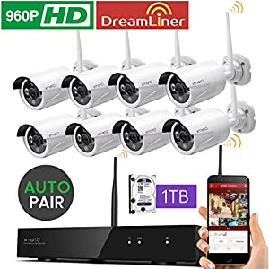 [Dream Liner WiFi Booster] xmartO WOS1388-1TB 8 Channel 960p HD Wireless Security Camera System with 8 HD Outdoor Wireless IP...