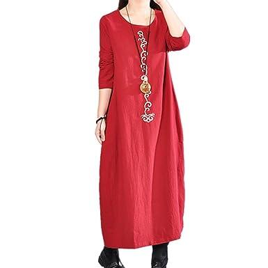 Longra Damen Leinenkleid Vintage Gestickt Herbst Winter Kleider Rundhals  Langarm Boho Kleider Lose Langes Maxikleider Festes Baumwollkleid Retro- Kleid Large ... 9bc8b2c186