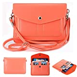 Universal Fashion Soft PU Leather Cell Phone Bag Purse Case Cross Body Wallet Pouch with Shoulder Strap & ID Cards Holders for Carrying iPhone6s/6s plus/6/6 Plus/5s and Samsung Series Phones(Watermelon Red)