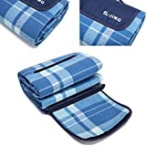 Q-JING Extra Large Picnic & Outdoor Blanket, Waterproof Handy Mat Tote for Camping Hiking Grass Travelling Dual Layers Blue Check