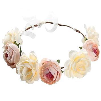Amazon.com: Diadema de flores con corona de rosas, diadema ...
