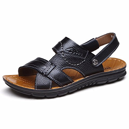 Sommer Echtleder Sandalen Männer Strand Schuh Männer Sandalen Männer Schuh Atmungsaktiv Freizeit Schuh Männer Trend ,schwarzH,US=7,UK=6.5,EU=40,CN=40