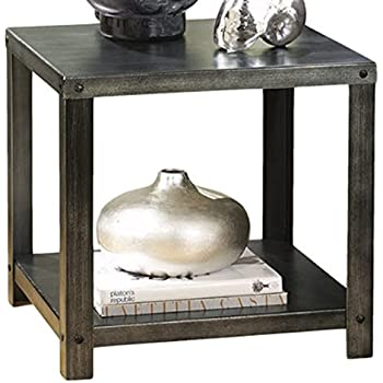 Ashley Furniture Signature Design   Hattney Contemporary End Table    Industrial Style   Square   Metal