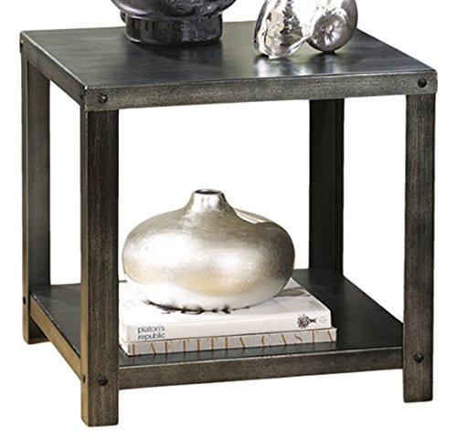 Ashley Furniture Signature Design - Hattney Contemporary End Table - Industrial Style - Square - (Contemporary Country End Table)