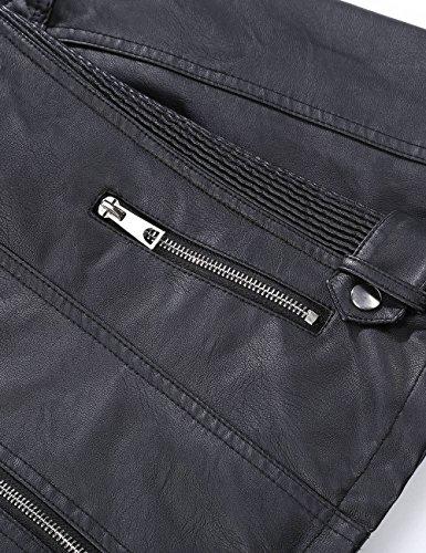 Bellivera Women's Faux Leather Short Jacket, Moto Jacket with Detachable Faux Fur Collar 9201 Black XXXL