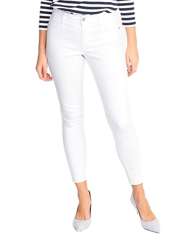 Summer Mid-Rise Super Skinny White Ankle Jeans for Women w/! (12)