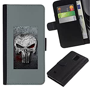 All Phone Most Case / Oferta Especial Cáscara Funda de cuero Monedero Cubierta de proteccion Caso / Wallet Case for Samsung Galaxy Note 4 IV // GRAY PUNISH SKULL