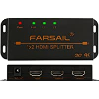 FarSail 1 to 2 HDMI Splitter 1X2 HDMI Dual Monitor Splitter Output 4K Powered Amplified Signal Distributor