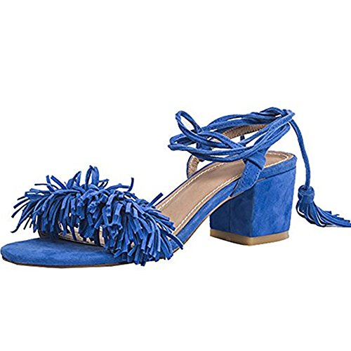 Lace Up Patent Leather Pumps - Comfity Block Heels for Women Women's Lace Up Sandals Fringed Tassel Shoes Ankle Ties Dress Sandals 9 M US Blue