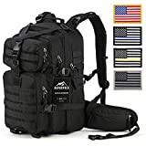 Tactical Backpack - RUPUMPACK Military Tactical Backpack Hydration Backpack by, Army MOLLE Bug Out Bag, Small 3-Day Rucksack for Outdoor Hiking Camping Trekking Hunting School Daypack, 33L (Black + 4 USA Flag Patches)
