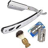 CCbeauty Stainless Steel Barber Men Straight Edge Shaving Razor Knife Handle Badger-hair Beard Shaving Brush Tool Kit and 10Pcs Refill Blades Kit