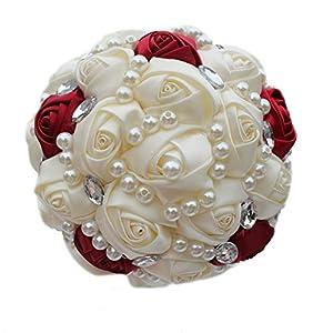 USIX Handmade Simple Crystal Rhinestone Pearl Decor Burgundy Ivory Satin Rose Bridal Holding Wedding Bouquet Wedding Flower Arrangements Bridesmaid Bouquet 69