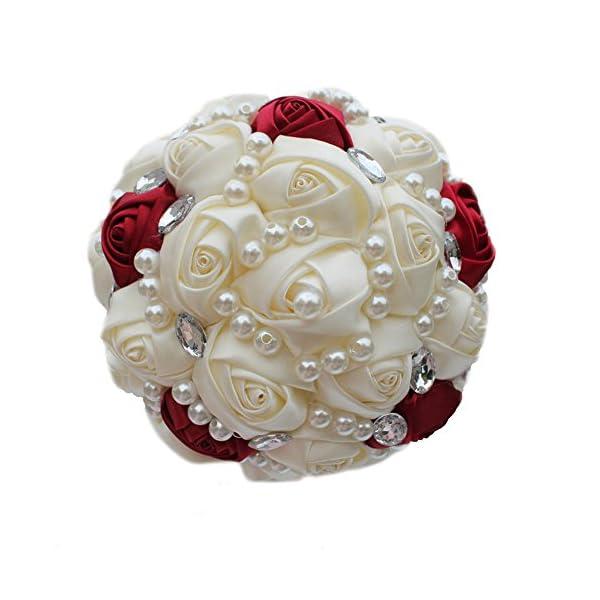 USIX Handmade Simple Crystal Rhinestone Pearl Decor Burgundy Ivory Satin Rose Bridal Holding Wedding Bouquet Wedding Flower Arrangements Bridesmaid Bouquet(Dia 21cm/8×10″)