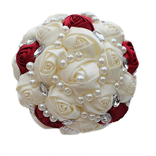 (USIX Handmade Simple Crystal Rhinestone Pearl Decor Burgundy Ivory Satin Rose Bridal Holding Wedding Bouquet Wedding Flower Arrangements Bridesmaid Bouquet(Dia 15cm/6x9