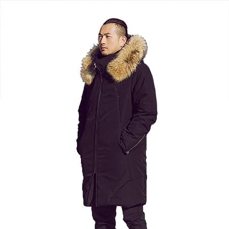 Ropa de algodón cuello de piel chaqueta larga abrigo con capucha ...