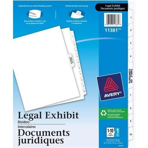 LGLTS110 Avery Premium Collated Legal Exhibit Divider - 11 x Divider(s) - Printed 1 - 10 - 11 Tab(s)/Set - 8.50