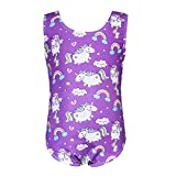 PHOEBE CAT Gymnastics Leotard for Little Girl One-Piece Sleeveless Dancing Athletic Unitards, 7-8 Years