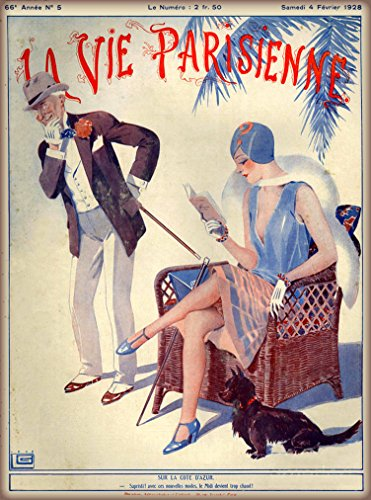 - 1921 La Vie Parisienne Reading with Scottish Terrier Scottie Puppy Dog French Nouveau from a Magazine France Travel Advertisement Picture Art Poster Print. Poster measures 10 x 13.5 inches