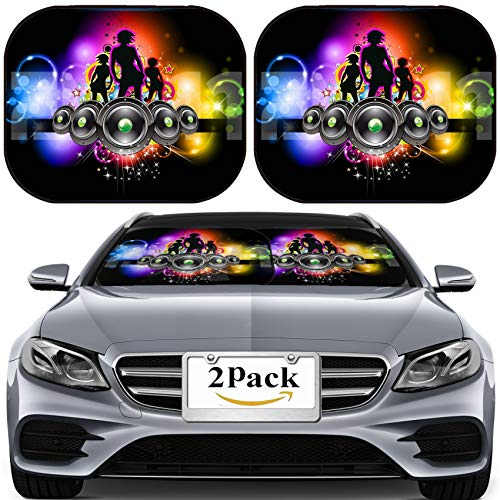 MSD Car Sun Shade for Windshield Universal Fit 2 Pack Sunshade, Block Sun Glare, UV and Heat, Protect Car Interior, Girls Discoteque Event Flyer for Music Themed Flyers Image ID 8824968 ()