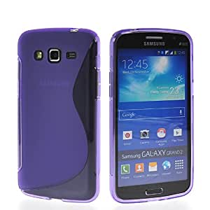 EVERGREENBUYING Case For Samsung Galaxy Grand 2 G7106 Ultra Thin Soft Skin Silicone Gel Tpu Coating Back Shell Cover Purple