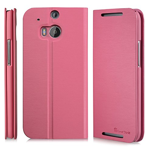 GreatShield SHIFT LX Leather Wallet Flip Case with Stand for HTC One M8 (2014) - Retail Packaging (Pink)