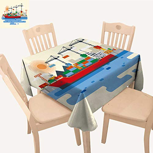 (UHOO2018 Polyester Fabric Tablecloth Square/Rectangle Flat Style loa Cargo Ship in River Port Carriage Goods by for Picnic,Outdoor or Indoor,52x 58)