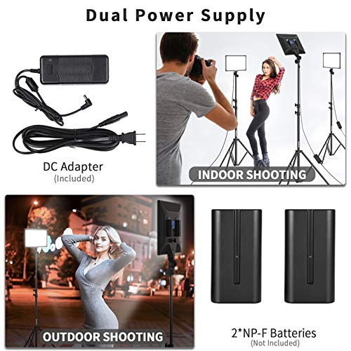 Bi-Color LED Video Light Stand Lighting Kit 2 Pack 15.4'' Large Panel 3000K-5800K 45W 4800LM Dimmable 1-100% Brightness Soft Light for YouTube Game Video Shooting Live Stream Photography Lighting by Dazzne (Image #2)