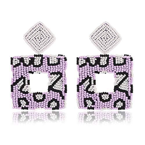 Beaded Drop Earrings Handmade Seed Bead Square Hoop Dangle Earrings Bohemia Statement Earring Studs for Women Girls (snake skin)