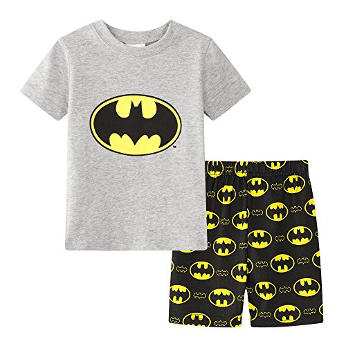 Gray Bat Boys Shorts 2 Piece Pajama Set 100% Cotton G6057,Gray,7-8Years