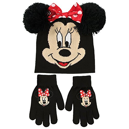 Minnie Mouse Ears And Glove Set (Disney Little Girls Minnie Mouse Beanie Hat and Gloves Set, black, red, One Size)