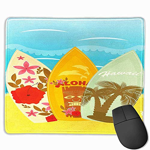 (Mouse padgaming Tiki Bar,Hawaiian Beach Surfboards on The Sand Exotic Summer Vacation Sport Vintage Style,Multicolor,7