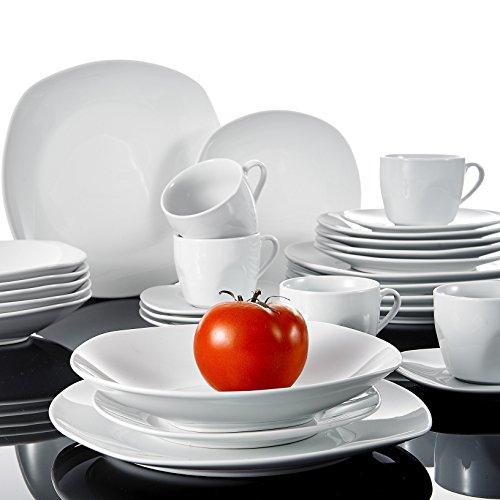 Malacasa, Series Elisa, 30-Piece Ivory White China Ceramic Dinnerware Sets of Cups & Saucers Set, Porcelain Plates Sets Service for 6