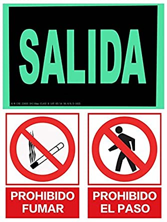 CIEFU-PACK 3 - CARTEL INDICADOR - SALIDA & PROHIBIDO PASO & PROHIBIDO FUMAR