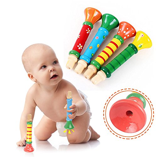- 2 Pack Mini Wooden Trumpet for Kids, Colorful Wood Musical Instrument Toy for Music Party, Classic Leaning Educational Toy, Motor Skill Games Developmental Toys for Toddlers Boys Girls