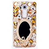 STENES LG X Venture/LG X Calibur/LG V9 Case - 3D Handmade Luxury Crystal Girls Mirror Butterfly Swan Flowers Sparkle Rhinestone Design Cover Bling Case with Retro Bows Dust Plug - Champagne