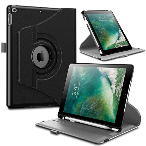 (Infiland iPad 9.7 2018 Inch (6th Gen) Case with Pencil Holder, 360 Degree Rotating Stand Protective Cover with Auto Sleep/Wake, Black)
