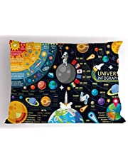 Outer Space Pillow Sham by Lunarable, New Horizons of Solar System Infographic Pluto Venus Mars Jupiter Skyrocket, Decorative Standard Size Printed Pillowcase, Multicolor