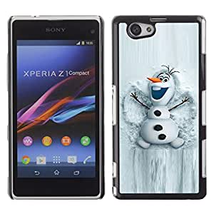 Be Good Phone Accessory // Dura Cáscara cubierta Protectora Caso Carcasa Funda de Protección para Sony Xperia Z1 Compact D5503 // Snowman White Winter Cartoon Character