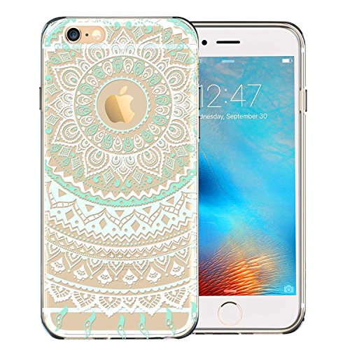 iPhone 6S Case, Slim [Hippie Mandala Floral Style] Clear Design Transparent Green Case for Apple iPhone 6 6S Image