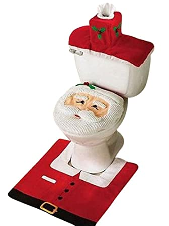 Christmas Decoration Santa Toilet Set Seat Cover Rug Tissue Box Gift By