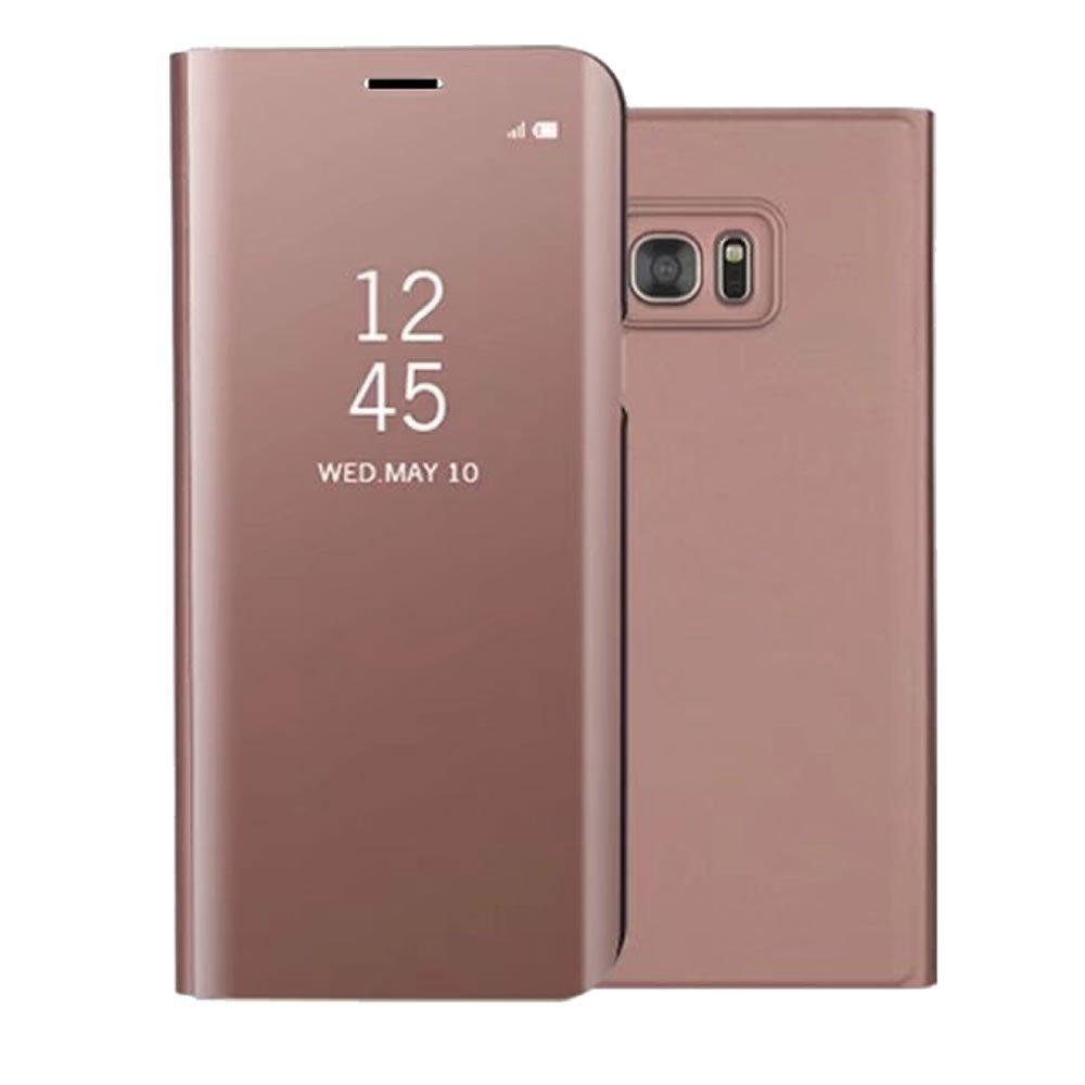 Custodia Samsung Galaxy S7 Edge Specchio Blu, Shinyzone Morbido Silicone Cover in Pelle Portafoglio + Dura PC, [Tecnologia di Placcatura in Metallo] [Supporto Stand], Custodia Antiurto Antigraffio Paraurti Protettivo per Samsung Galaxy S7 Edge