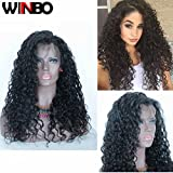 WINBOWIG 8A Human Hair Lace Wig Deep Curl Full Lace Wig Natural Black Color 150% Density With Baby Hair (18 INCH, FRONT LACE WIG)