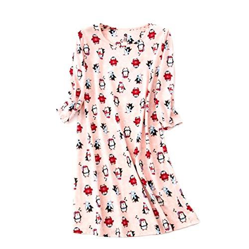ENJOYNIGHT Womens Cotton Sleepwear Short Sleeves Print Sleepshirt Sleep Tee (Long Sleeves Pink, S/M)
