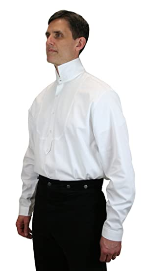 Victorian Men's Shirts- Wingtip, Gambler, Bib, Collarless Mens Excelsior Victorian High Collar Dress Shirt $62.95 AT vintagedancer.com