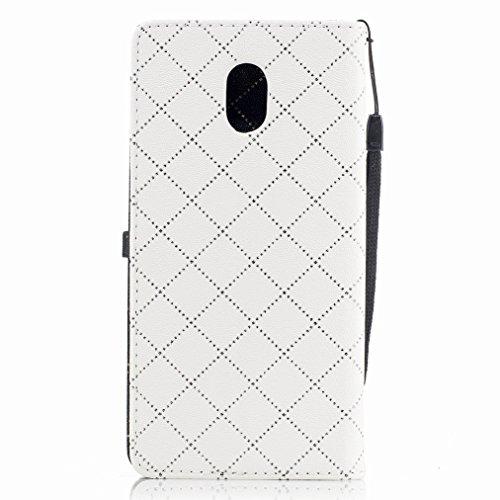 Yiizy Nokia 3 Custodia Cover, Amare Design Sottile Flip Portafoglio PU Pelle Cuoio Copertura Shell Case Slot Schede Cavalletto Stile Libro Bumper Protettivo Borsa (Bianco)