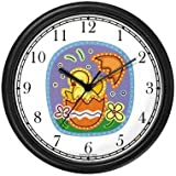 Easter Chick Hatching out of Easter Egg No.2 Easter Theme Wall Clock by WatchBuddy Timepieces (Black Frame)
