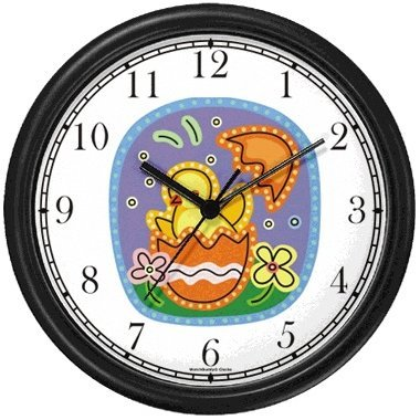 Easter Chick Hatching out of Easter Egg No.2 Easter Theme Wall Clock by WatchBuddy Timepieces (Hunter Green Frame) by WatchBuddy